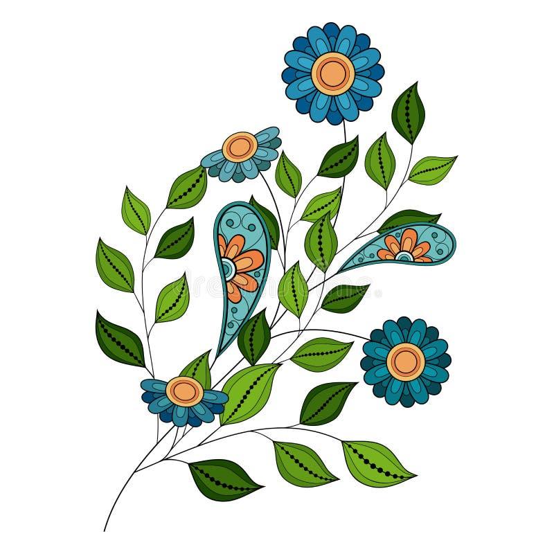 Vector Mooie Gekleurde Contourbloem vector illustratie