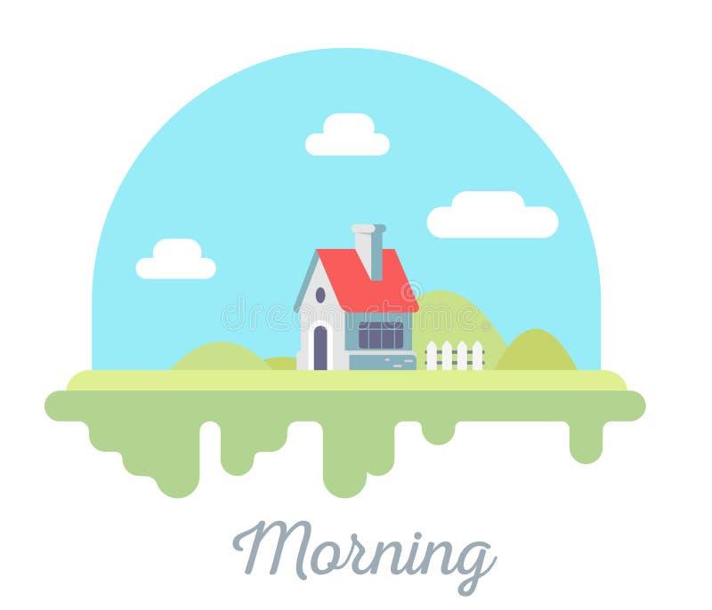 Vector mooie illustratie van huis met schoorsteen en omheining o vector illustratie