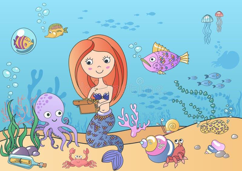 Vector Mooie leuk weinig sirenemeermin met schat zwemmen onderwater met vissen en octopus Getrokken hand royalty-vrije illustratie