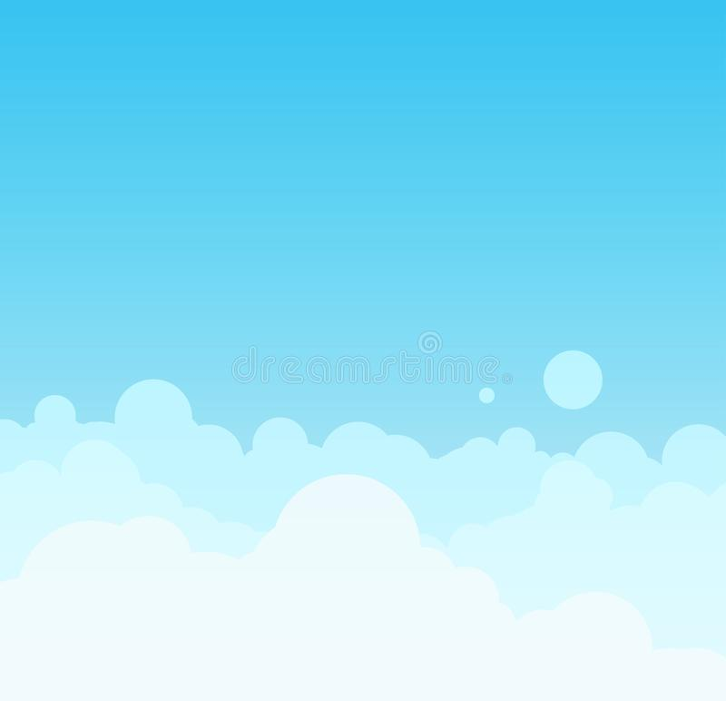 Vector Mooie minimalistic cloudscape in zonnige dag stock illustratie