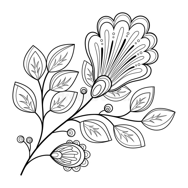 Vector Mooie Zwart-wit Contourbloem royalty-vrije illustratie