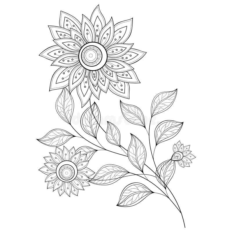 Vector Mooie Zwart-wit Contourbloem vector illustratie