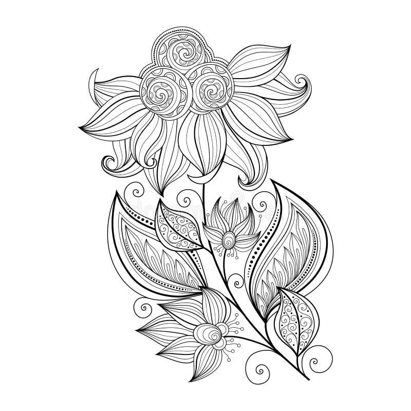 Vector Mooie Zwart-wit Contourbloem stock illustratie