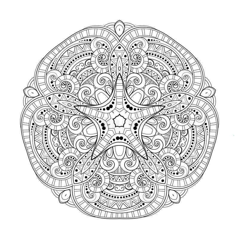 Vector Mooie Zwart-wit de Contourster van Deco, Gevormd Ontwerpelement stock illustratie