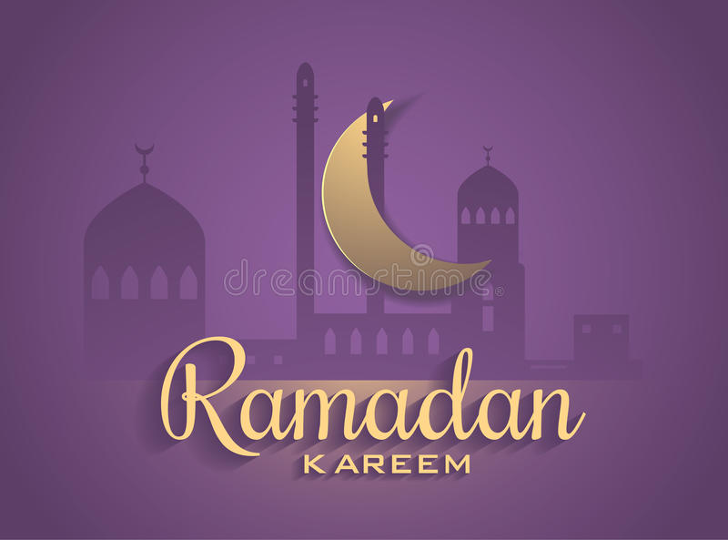 Vector Moon and Mosque Lightning in Dark purple Background royalty free stock photography