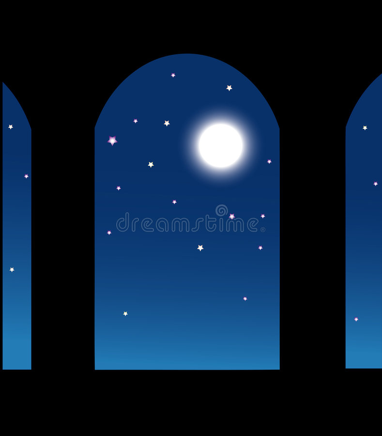 Vector moon in window vector illustration