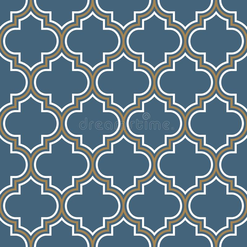 Vector moroccan repeat seamless pattern. Light blue, gold beige line on white background. royalty free illustration
