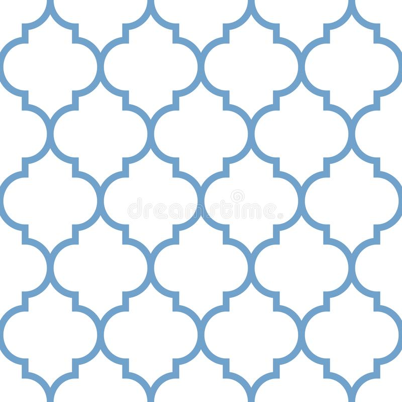 Vector moroccan repeat seamless pattern. Light blue on white background. royalty free illustration