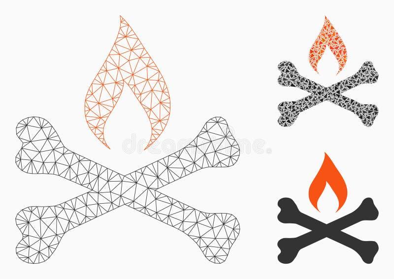 Vector mortal Mesh Network Model de la ignición e icono del mosaico del triángulo libre illustration