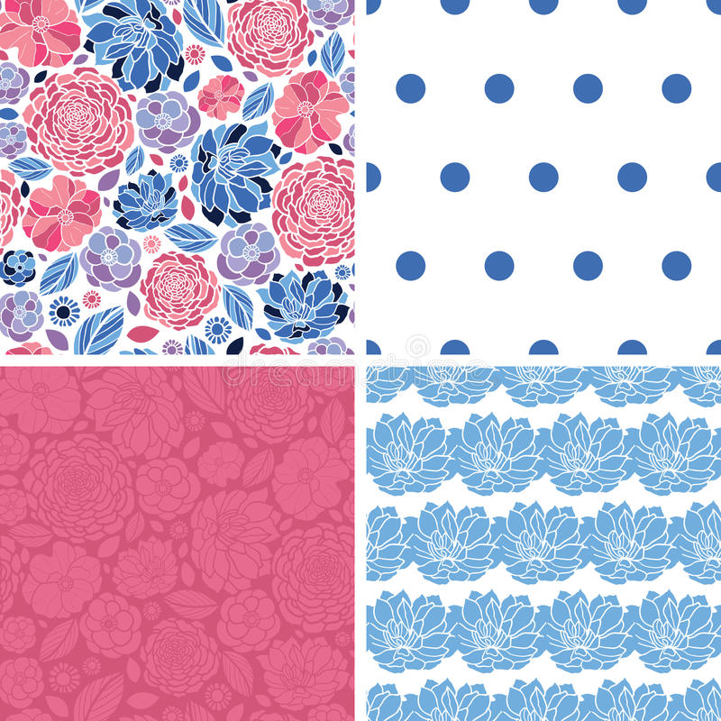 Vector Mosaic Flowers Set of Four Matching Repeat vector illustration