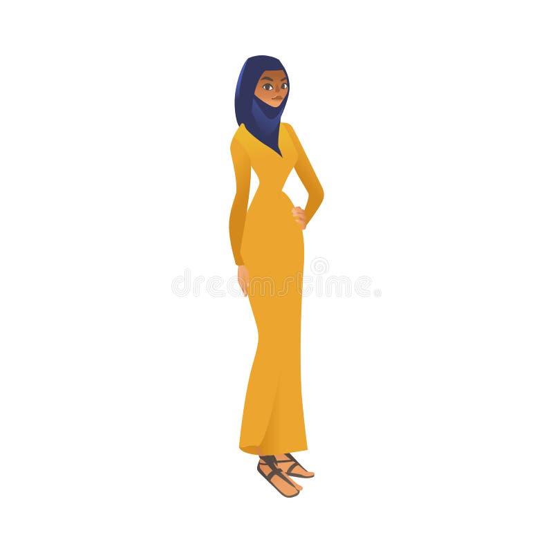 Vector moslimkhalijivrouw in het pictogram van het hijabbeeldverhaal royalty-vrije illustratie