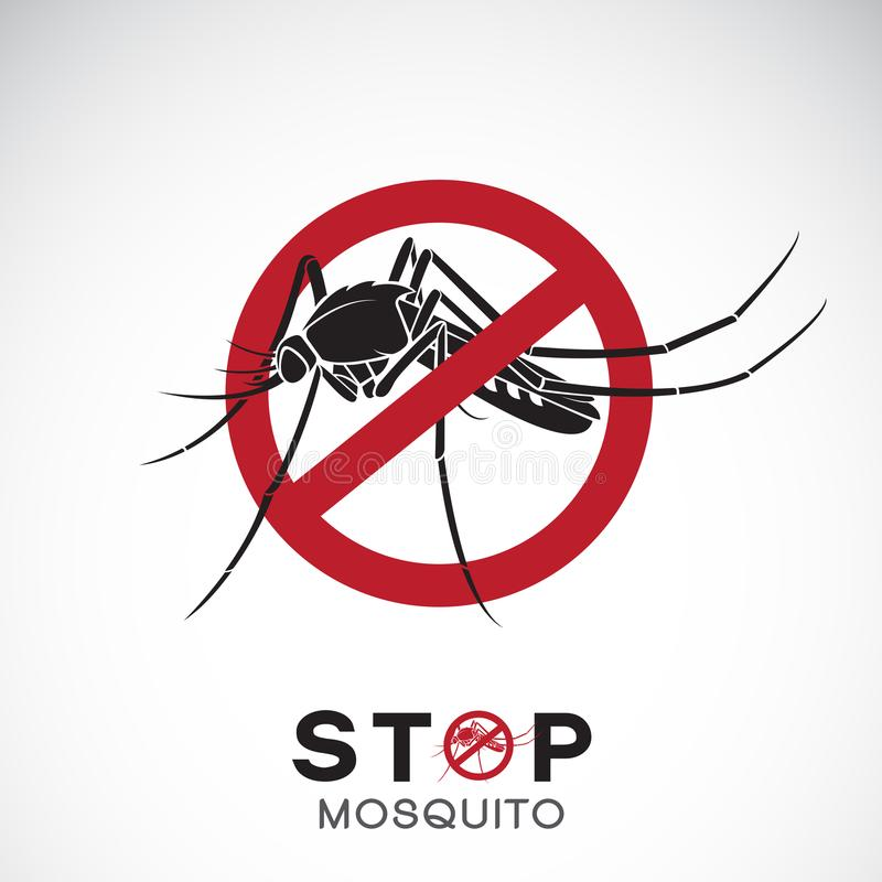 Vector of mosquito in red stop sign on white background. Insect. Epidemic virus prevention concept. Easy editable layered vector illustration stock illustration