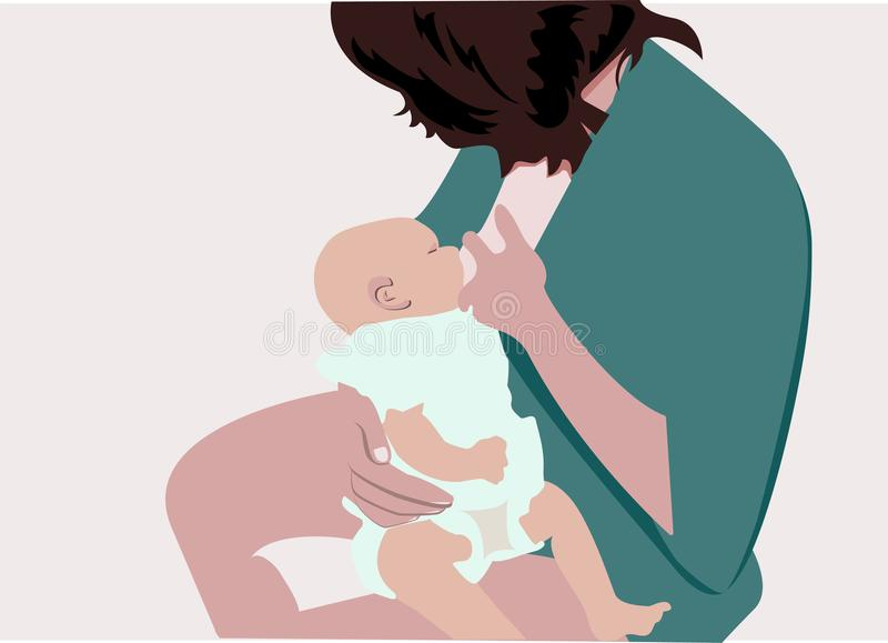 Vector of mother breastfeeding her baby. Newborn child royalty free illustration