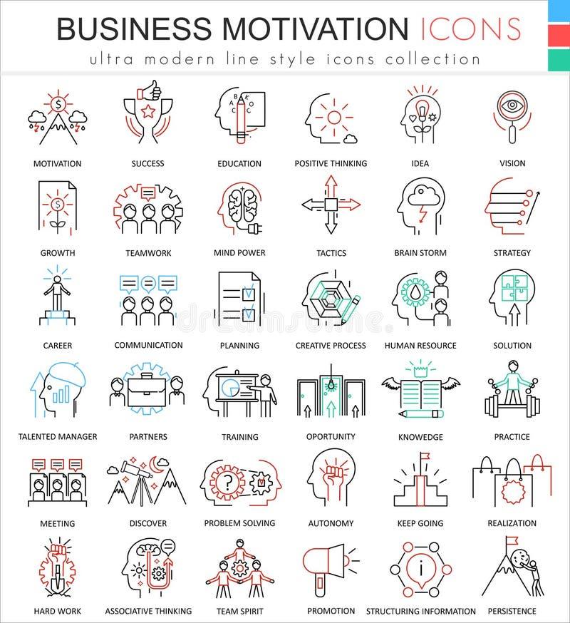 Vector a motivação do negócio e discipline a linha ultra moderna ícones do esboço da cor para apps e design web ilustração do vetor