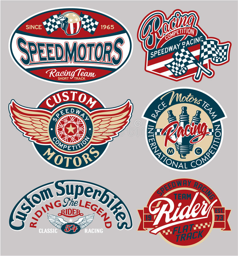 Vector motor patches collection stock illustration