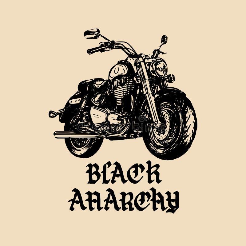 Vector Motorradskizze mit gotischer handgeschriebener Beschriftung Schwarz-Anarchie Weinleseplakat mit kundenspezifischem Zerhack vektor abbildung