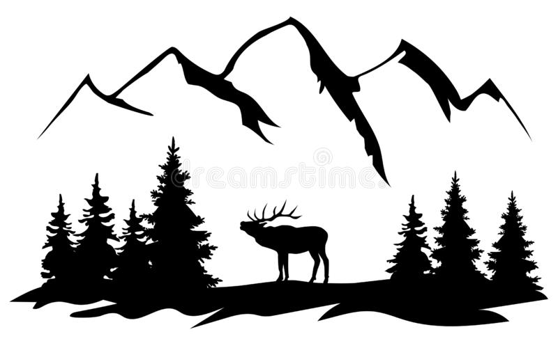 Jpg Free Stock Elk Clipart - Black And White Elk - Png Download - Full Size  Clipart (#1917256) - PinClipart