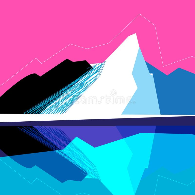Vector mountain landscape. On a pink background royalty free illustration