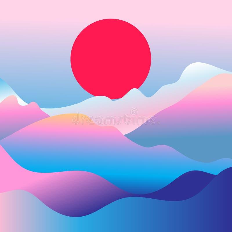 Vector mountain landscape. Wonderful vector mountain landscape with the sun vector illustration
