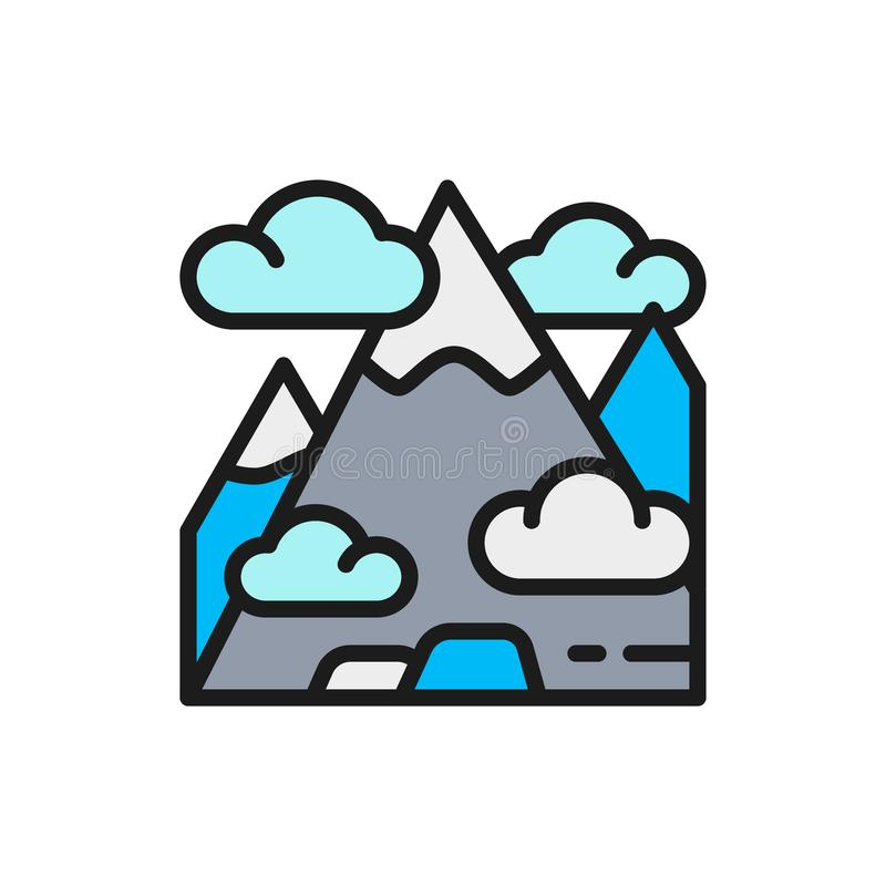 Vector mountain, mount, hill, travel, tourism flat color line icon. Symbol and sign illustration design. Isolated on white background stock illustration