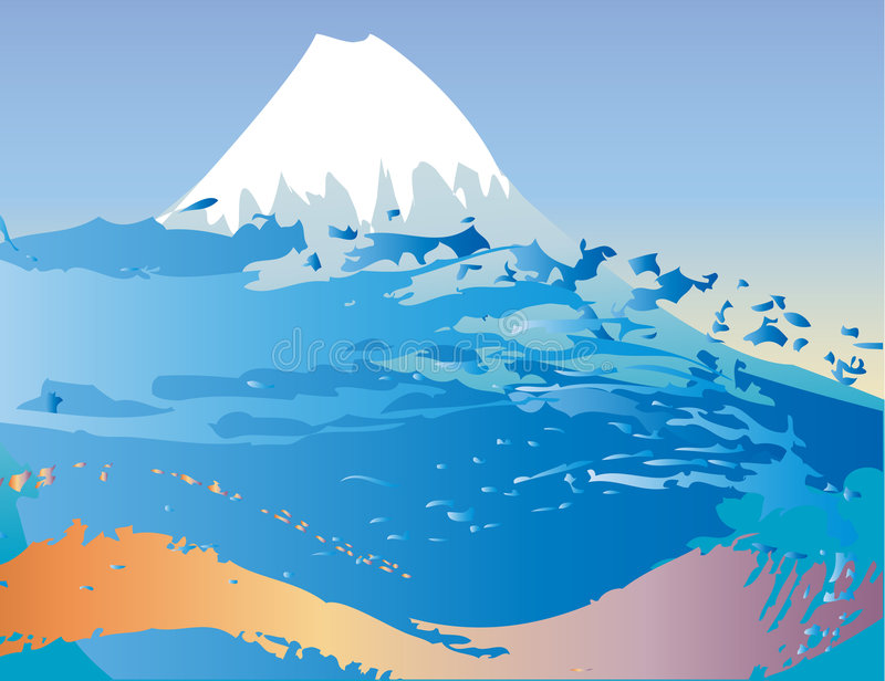 Vector Mountain and waves stock illustration