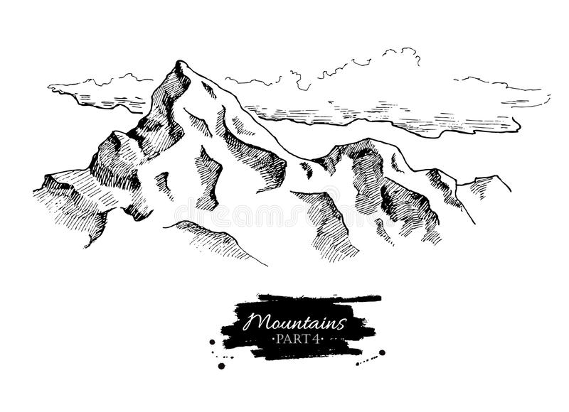 Line Art Mountains : Vector mountains drawing hand drawn