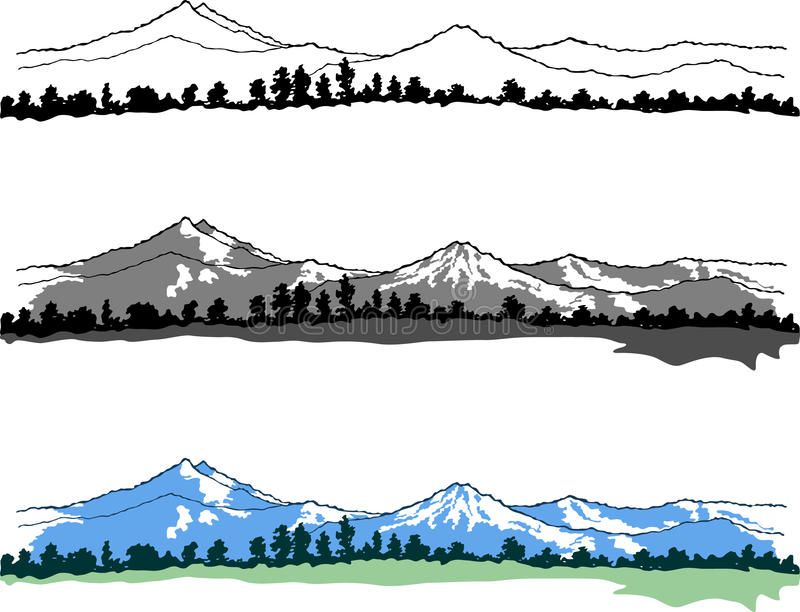 Vector mountains landscape. Easy to edit royalty free illustration