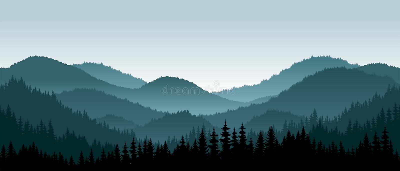Vector mountains landscape - seamless background. Vector mountains landscape with fog - seamless background vector illustration