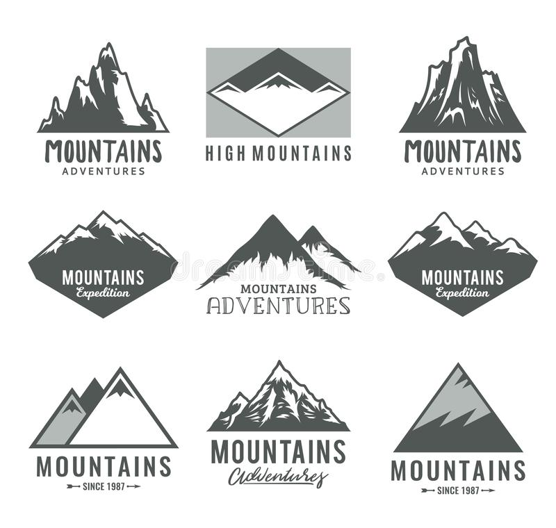 Vector mountains icons. Vector mountains logo isolated on white. Mountains, rocks and peaks icons royalty free illustration