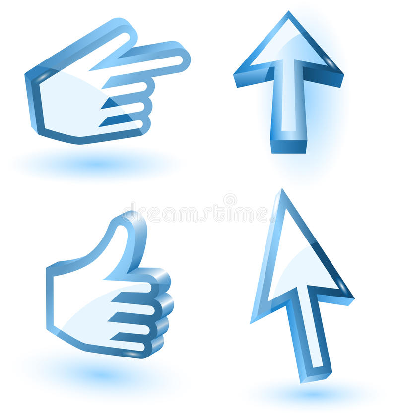 Download Vector Mouse Arrow And Hand Pointers Stock Vector - Image: 24308340