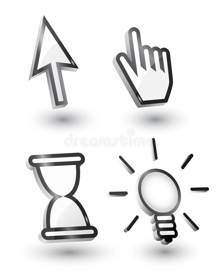 Vector mouse cursors stock illustration