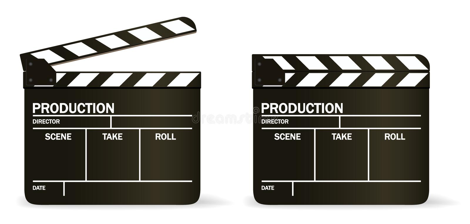 VECTOR movie clapper board stock illustration