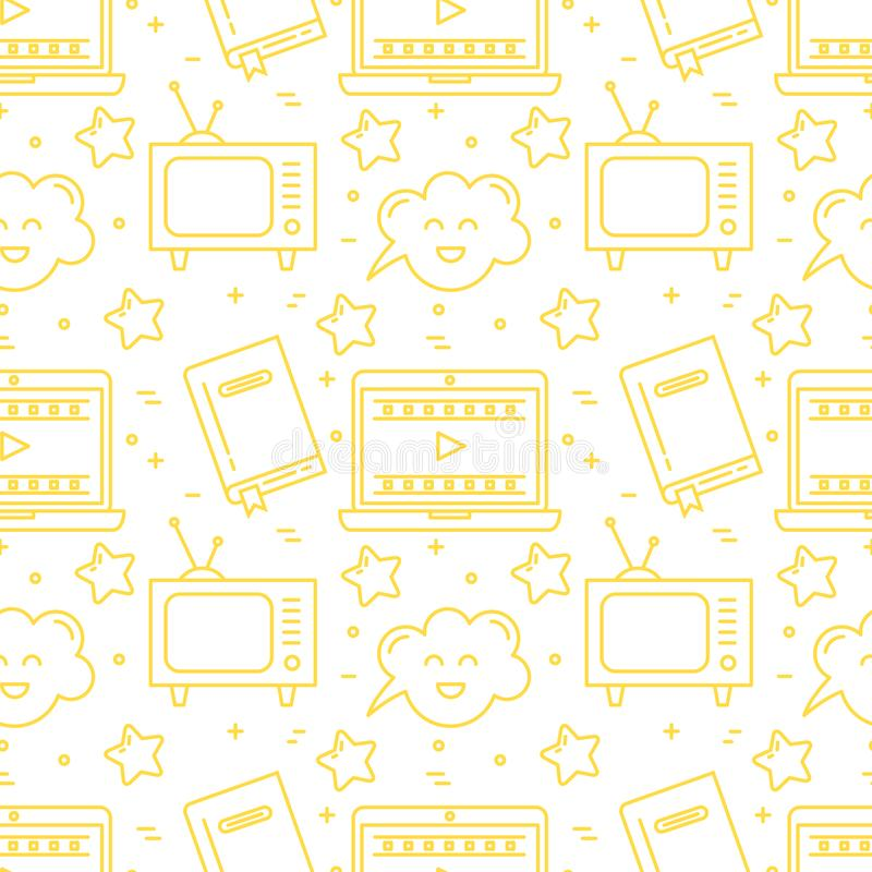 Vector movie genre surface seamless pattern simple design. Vector movie genre seamless pattern stock illustration