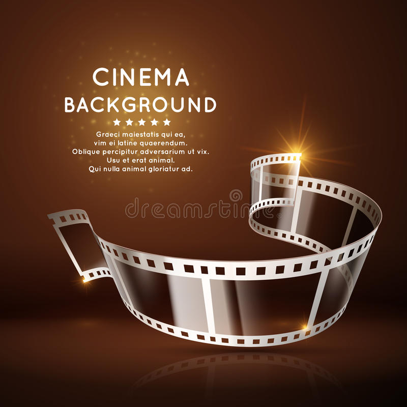 Vector movie poster with film 35mm roll, vintage cinema background stock illustration