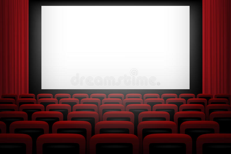 Vector Movie Theatre Background With White Screen Red