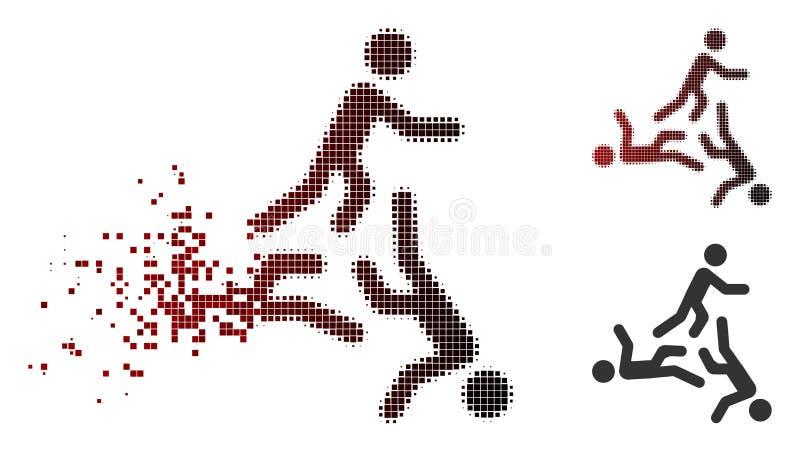 Dissipated Pixel Halftone Moving Men Icon stock illustration