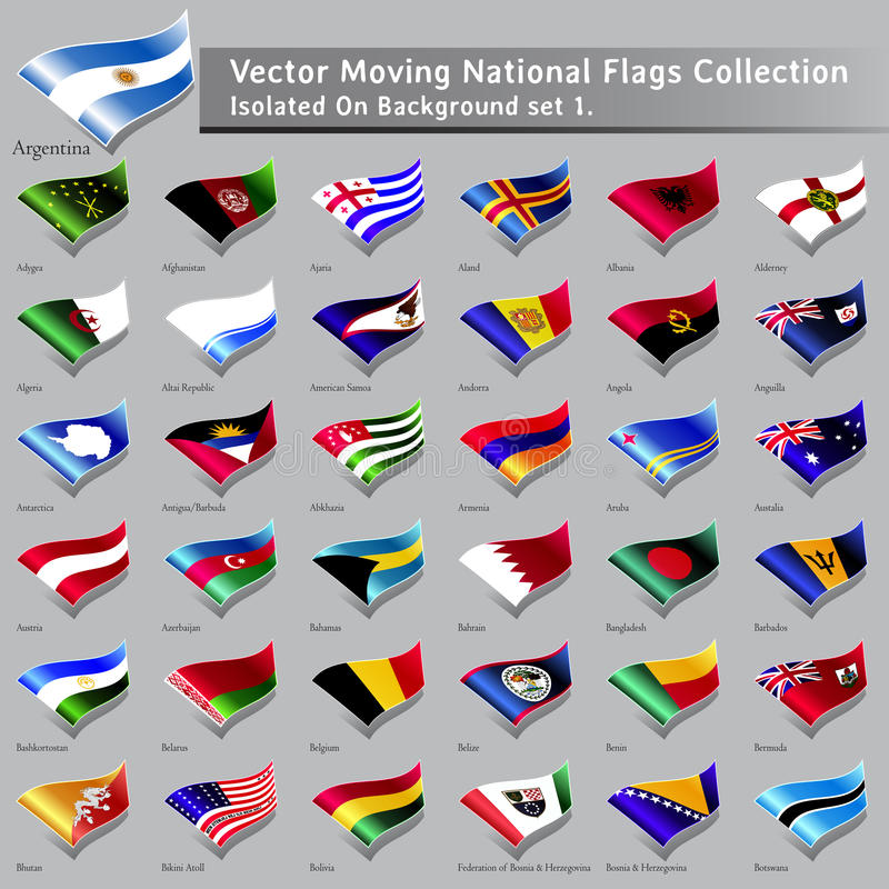 Vector Moving National Flags Of The World Isolated Stock Image
