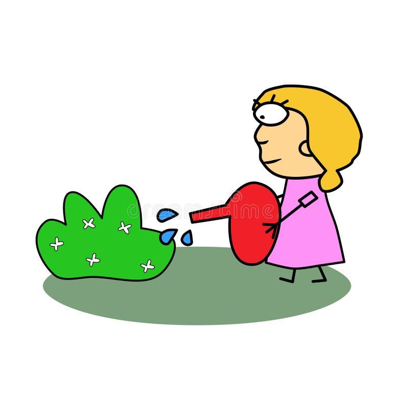 Vector Muchacha que riega un arbusto con las flores Regadera roja para las plantas de riego en las manos de una mujer El cuidar p ilustración del vector