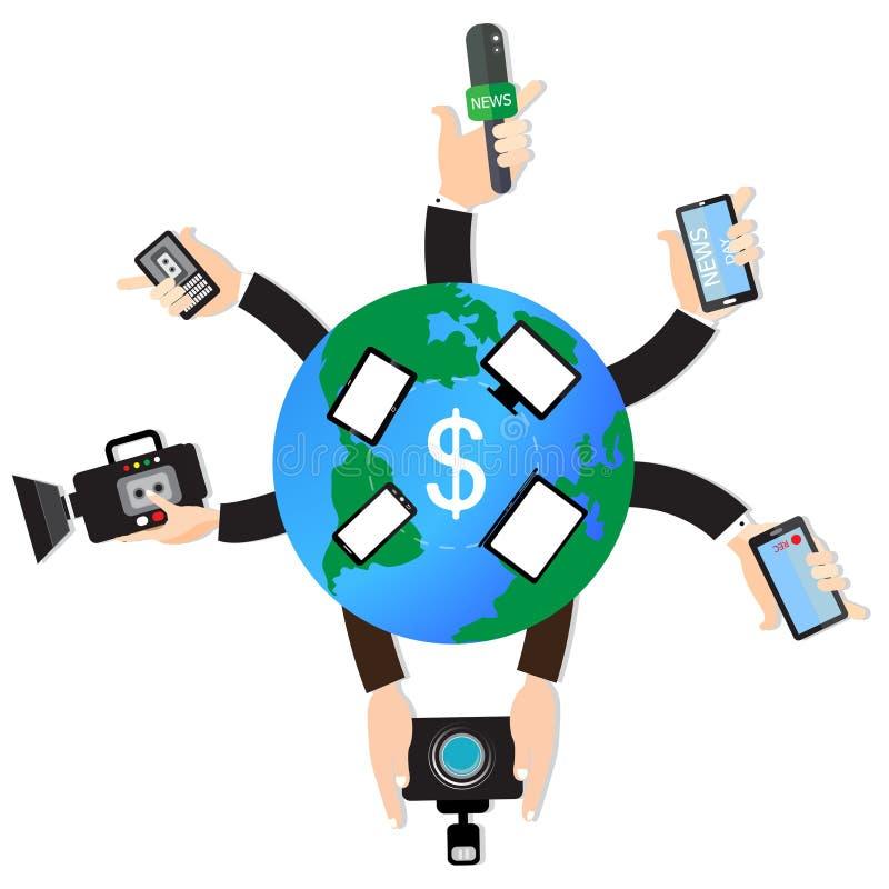 Vector muchas manos de periodistas con concepto global de la red del mundo de los micrófonos y de las grabadoras stock de ilustración