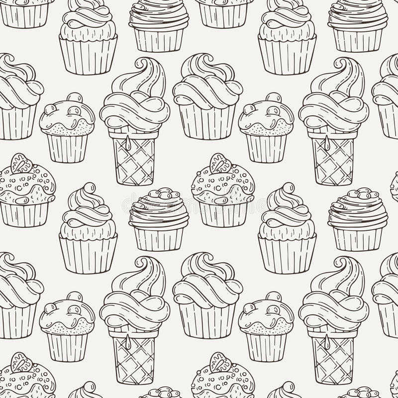 Vector Muffins Seamless Pattern. Cakes, Sweets. Candy wrappers, cups and cream royalty free illustration