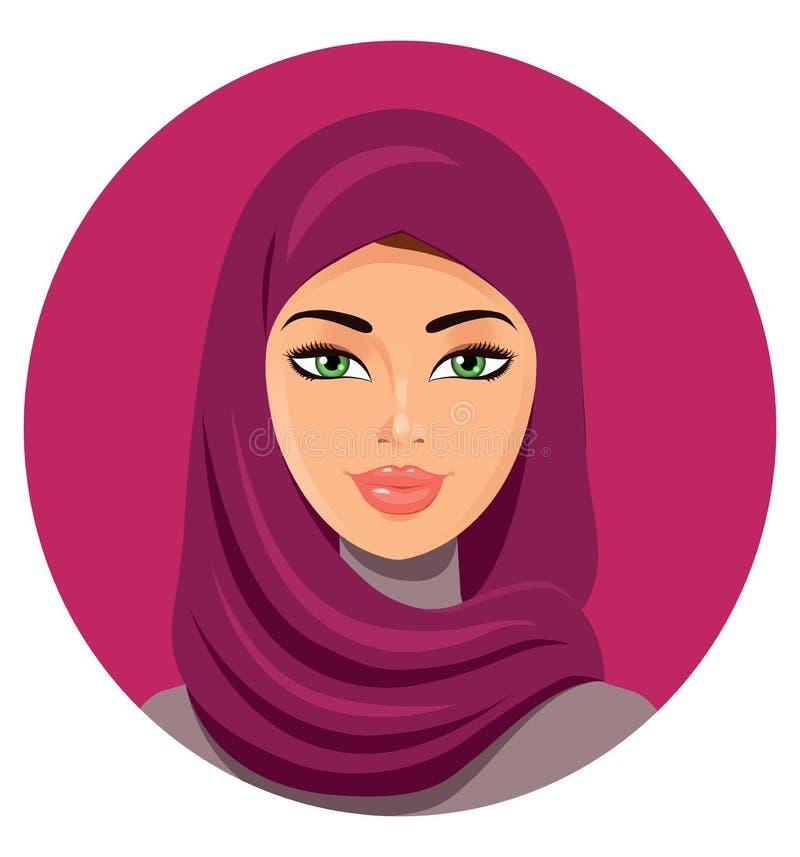 Vector - mujer árabe hermosa joven en hijab ilustración del vector
