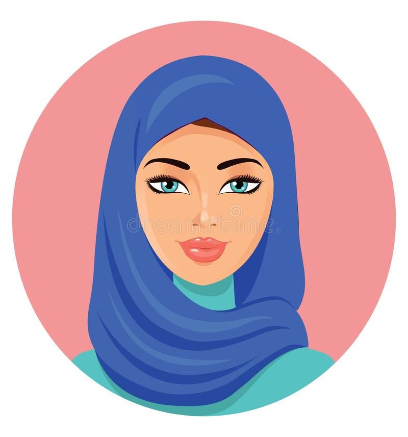 Vector - mujer árabe hermosa joven en un hijab azul ilustración del vector