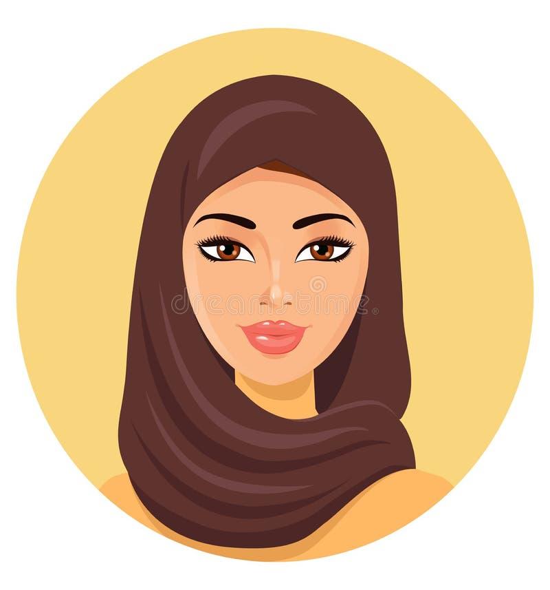 Vector - mujer musulmán feliz joven hermosa en hijab stock de ilustración