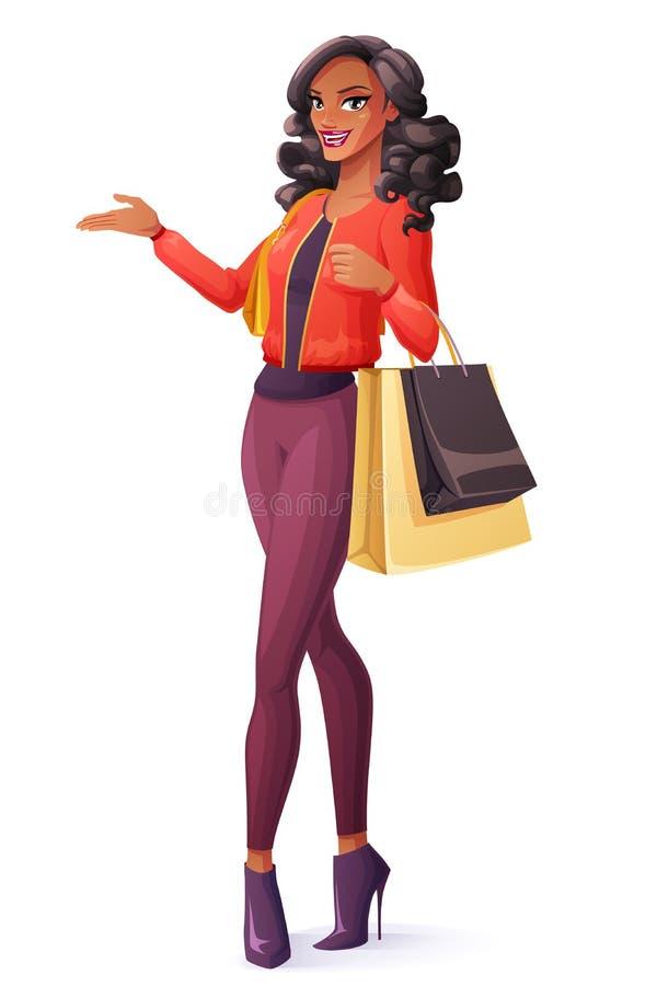 Vector a mulher africana bonita que está com sacos de compras e apresentação ilustração do vetor