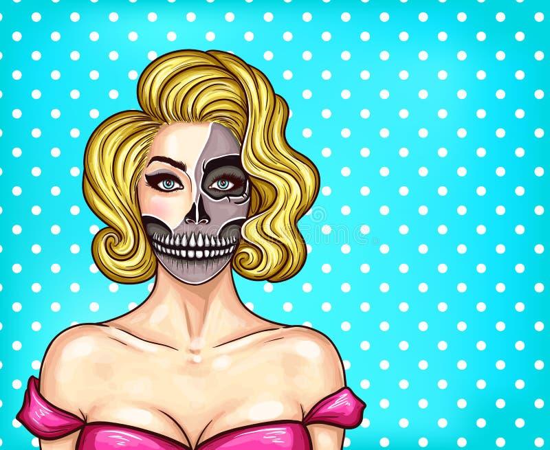 Vector a mulher com composição no estilo do pop art, cara de esqueleto ilustração stock