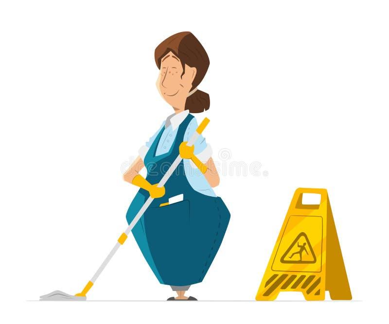 Vector a mulher do guarda de serviço da senhora do líquido de limpeza do caráter na limpeza uniforme ilustração royalty free