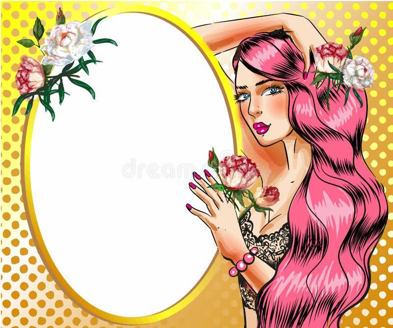 Vector a mulher do pop art com ilustração cor-de-rosa do vetor do cabelo ilustração royalty free