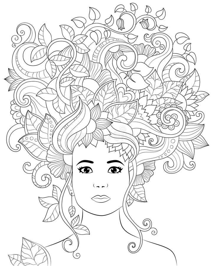 Vector a mulher tirada mão da ilustração com cabelo floral para o livro para colorir adulto Esboço a mão livre para o anti esforç ilustração do vetor