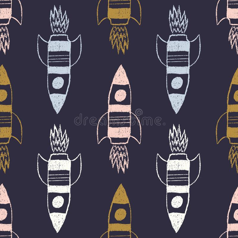 Vector multi color rockets on a dark blue background. Seamless space pattern for kids vector illustration