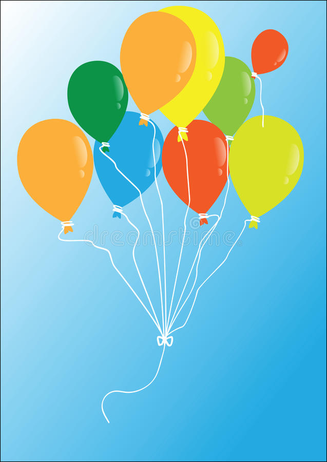 Vector multi-colored balloons flying in the blue sky stock illustration